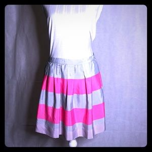 Light grey bright pink striped pleated flare skirt